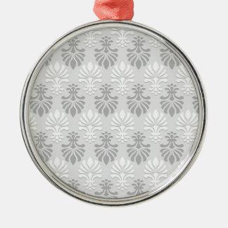 インドのブロックプリント花パターン-銀製灰色 メタルオーナメント