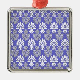 インドのブロックプリント花パターン-青 メタルオーナメント