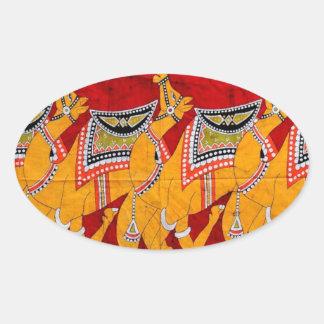 インドのラクダのろうけつ染めの絵画 楕円形シール