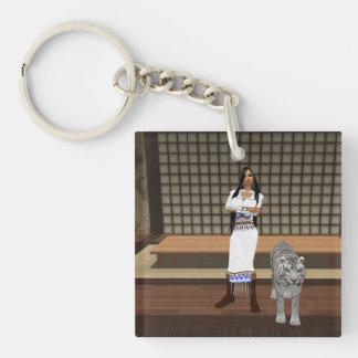 インドの女性および白いトラのキーホルダー キーホルダー