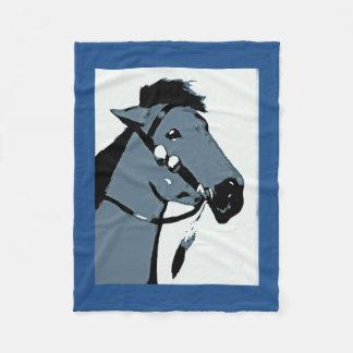 インドの子馬-ネイティブアメリカンの芸術 フリースブランケット