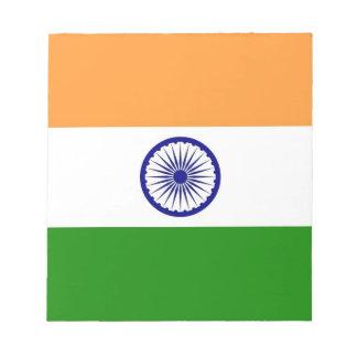 インドの旗が付いているメモ帳 ノートパッド