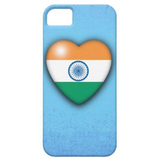 インドの旗のハートの淡いブルーの背景のiphone iPhone SE/5/5s ケース