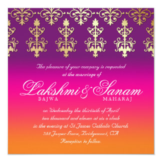 インドの結婚式の招待のダマスク織のピンクの紫色のオレンジ カード