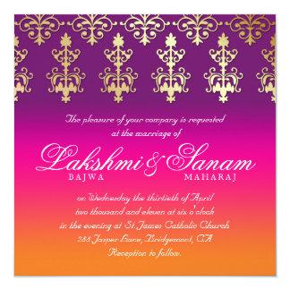 インドの結婚式の招待のダマスク織のピンクの紫色のオレンジ 13.3 スクエアインビテーションカード