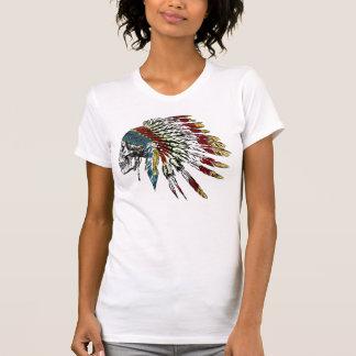 インドの羽のスカル Tシャツ