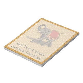 インドゾウw/Redの布 ノートパッド