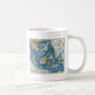 インドネシアのヴィンテージのフランスのな地図 コーヒーマグカップ
