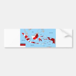 インドネシアの国の政治地図の旗 バンパーステッカー