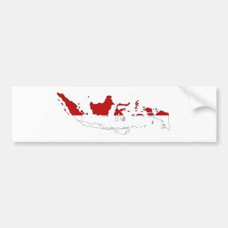 インドネシアの国旗の地図の形のシルエット バンパーステッカー