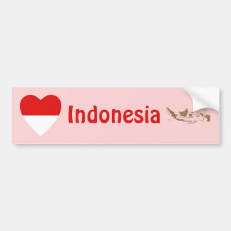 インドネシアの旗のハート + 地図のバンパーステッカー バンパーステッカー