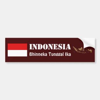 インドネシアの旗 + 地図のバンパーステッカー バンパーステッカー