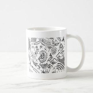 インドネシアの昆虫及び植物の織物パターン コーヒーマグカップ