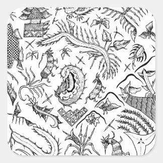 インドネシアの昆虫及び植物の織物パターン スクエアシール