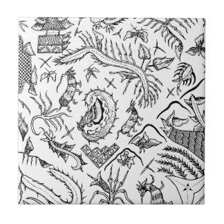 インドネシアの昆虫及び植物の織物パターン タイル