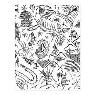 インドネシアの昆虫及び植物の織物パターン ポストカード