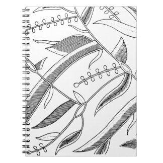 インドネシアの葉が多い織物 ノートブック