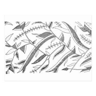 インドネシアの葉が多い織物 ポストカード