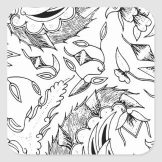 インドネシアの野生動植物の織物 スクエアシール
