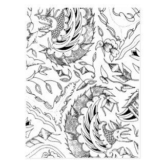 インドネシアの野生動植物の織物 ポストカード