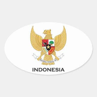 インドネシア-または記号紋章か旗または紋章付き外衣 楕円形シール