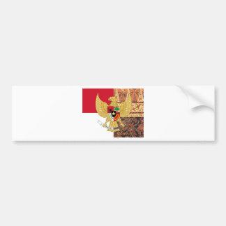 インドネシア- Garuda Pancasilaのろうけつ染めの旗の紋章 バンパーステッカー