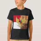 インドネシア- Garuda Pancasilaのろうけつ染めの旗の紋章 Tシャツ