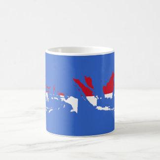 インドネシアID、ジャカルタの旗の地図 コーヒーマグカップ