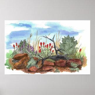 インドペイントブラシによっては砂漠の景色が開花します ポスター