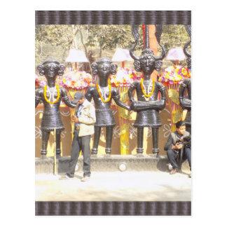 インドミュージシャンの芸術家の文化的なショーの彫像 ポストカード