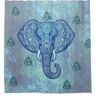 インド主Ganesh象の芸術 シャワーカーテン