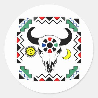 インド牛スカル ラウンドシール