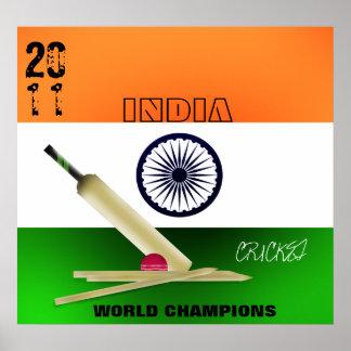 インド2011年のICCワールドカップのチャンピオンポスタープリント ポスター