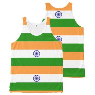 インド- तिरंगा -の旗भारतकाध्वज オールオーバープリントタンクトップ