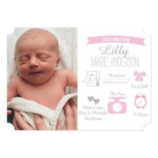 インフォグラフィックの誕生の発表-女の子 カード
