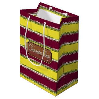 インラインに点の赤茶色の黄色くストライプのなギフトバッグ ミディアムペーパーバッグ