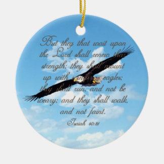 イーグルスのアイザイアの40:31のクリスチャンの聖書として翼 セラミックオーナメント