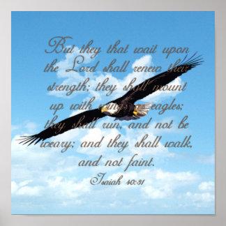 イーグルスのアイザイアの40:31のクリスチャンの聖書として翼 ポスター