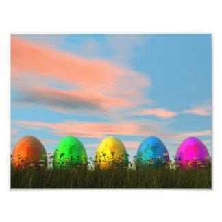 イースターのためのカラフルな卵- 3Dは描写します フォトプリント