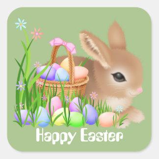 イースターのウサギおよび卵の休日のパーティのステッカー スクエアシール