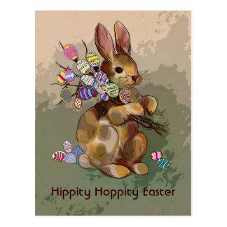 イースターのウサギおよび卵 ポストカード