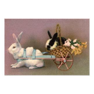 イースターのウサギのイースターバスケット花の花柄のカート フォトプリント