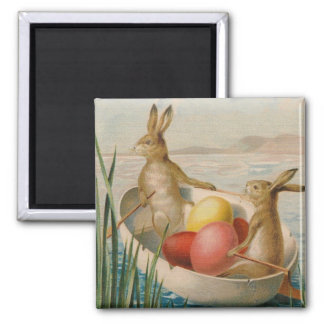 イースターのウサギのウサギによって着色される卵のボート マグネット