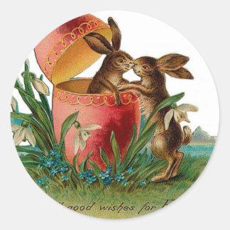 イースターのウサギのキスのヴィンテージ ラウンドシール