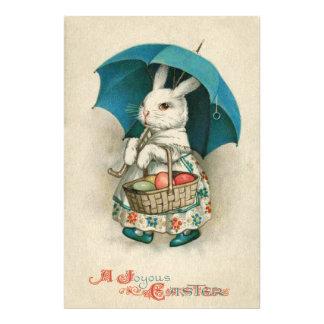イースターのウサギのバスケットによって着色される卵の傘 フォトプリント