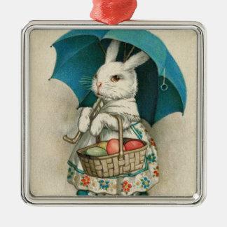 イースターのウサギのバスケットによって着色される卵の傘 メタルオーナメント