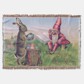 イースターのウサギのバスケットによって着色される卵の格言 スローブランケット
