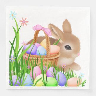 イースターのウサギのバスケットのパーティーのサービングのナプキン