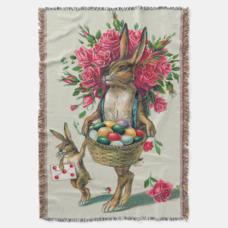イースターのウサギのパパの子供のばら色のバスケットの卵 スローブランケット