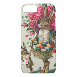 イースターのウサギのパパの子供のばら色のバスケットの卵 iPhone 8/7ケース